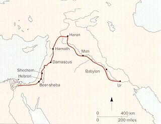 Map of Abram's journey